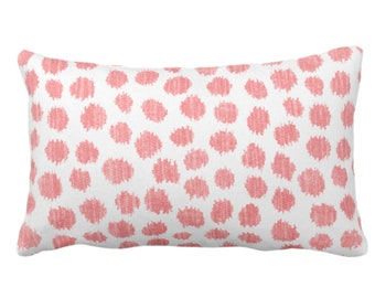 """Scratchy Dots Throw Pillow/Cover, Modern Pink/White 14 x 20"""" Lumbar Pillows/Covers, Scribble/Dots/Spots/Circles/Dotted/Geo Print/Pattern"""