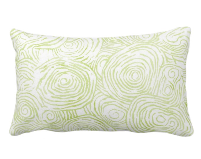 "OUTDOOR Watercolor Faux Bois Throw Pillow or Cover, Wasabi 14 x 20"" Lumbar Pillows or Covers, Light Green Painted Modern/Swirl/Geo Print"