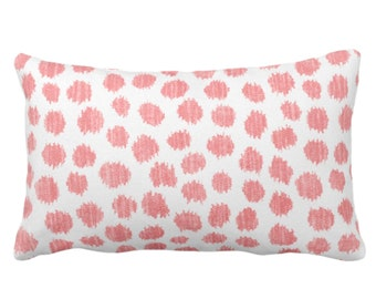 """OUTDOOR Scratchy Dots Throw Pillow or Cover, Modern Pink/White 14 x 20"""" Lumbar Pillows/Covers, Scribble/Dots/Spots/Dotted/Geo Print/Pattern"""