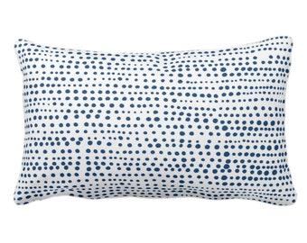 "OUTDOOR Dot Line Throw Pillow or Cover, Navy Blue/White Print 14 x 20"" Lumbar Pillows/Covers, Dots/Lines/Geometric/Modern/Farmhouse/Minimal"