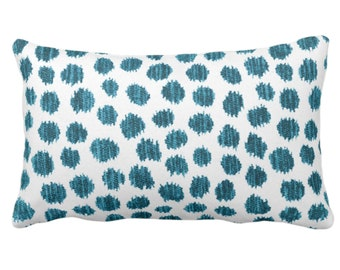 """OUTDOOR Scratchy Dots Throw Pillow or Cover, Teal/White 14 x 20"""" Lumbar Pillows/Covers Blue/Green Scribble/Dots/Spots/Dotted Print/Pattern"""