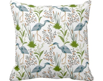 """Blue Heron Throw Pillow or Cover, 16, 18, 20 or 26"""" Sq Pillows or Covers, Teal Blue & Green Bird/Birds Naturalist Print/Pattern Toile/Nature"""