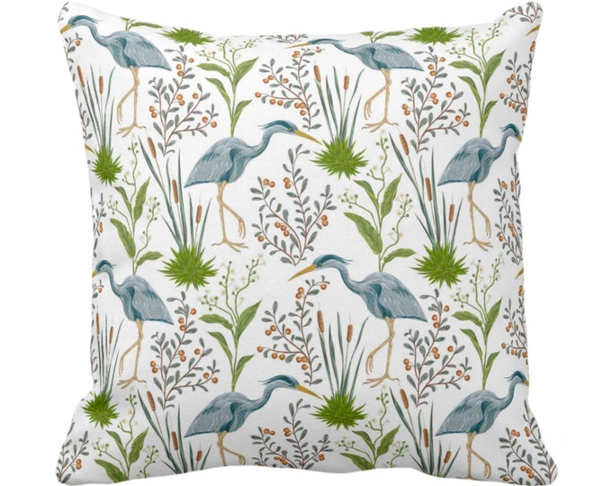 "Blue Heron Throw Pillow or Cover, 16, 18, 20 or 26"" Sq Pillows or Covers, Teal Blue & Green Bird/Birds Naturalist Print/Pattern Toile/Nature"