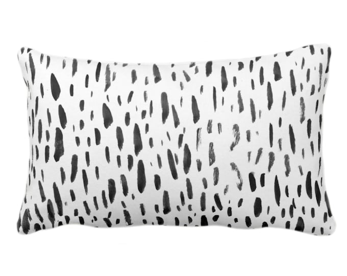 """OUTDOOR Hand-Painted Dashes Throw Pillow or Cover, Charcoal/White 14 x 20"""" Lumbar Pillows or Covers Modern Black Dots/Dash/Splatter Print"""