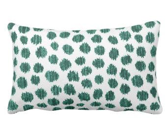"OUTDOOR Scratchy Dots Throw Pillow or Cover, Fir/White 14 x 20"" Lumbar Pillows/Covers Dark Green Scribble/Dots/Spots/Dotted Print/Pattern"