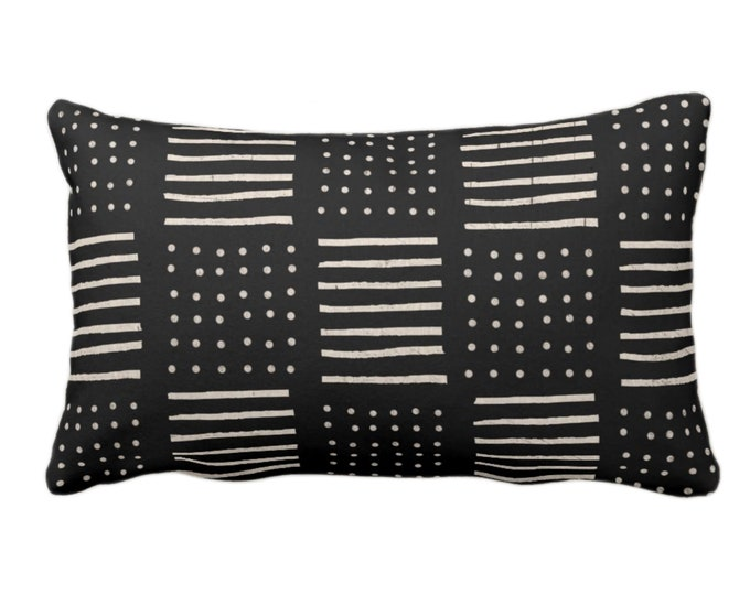 "OUTDOOR Mud Cloth Print Pillow or Cover, Black/Off-White 14 x 20"" Lumbar Throw Pillows/Covers Mudcloth Dots/Lines Boho/Tribal/African"