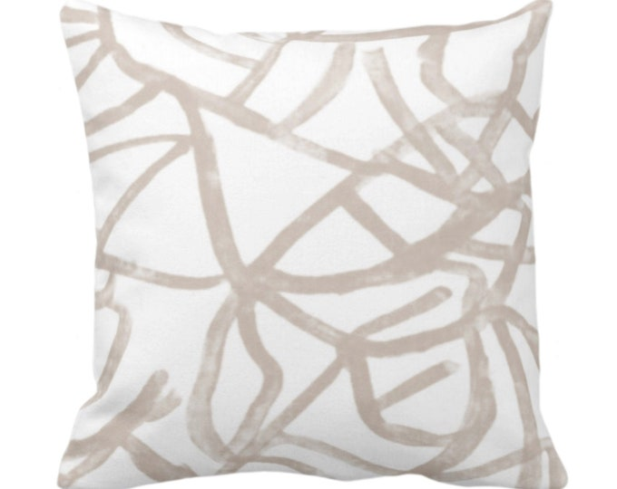 """Abstract Throw Pillow or Cover, Ivory/Bark 14, 16, 18, 20, 26"""" Sq Pillows/Covers, Painted Taupe/Beige Modern/Geometric/Lines/Line Art Print"""