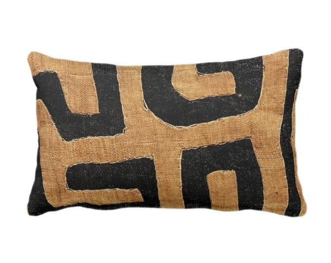 "PRINTED - READY 2 SHIP Kuba Cloth Throw Pillow or Cover, Tan/Black 14 x 20"" Lumbar Pillows or Covers, African Tribal/Traditional/Geo Print"