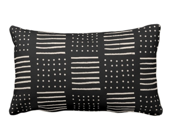 """Mud Cloth Printed Pillow or Cover, Black/Off-White 14 x 20"""" Lumbar Throw Pillows or Covers Mudcloth Dots/Lines Boho/Tribal/African"""