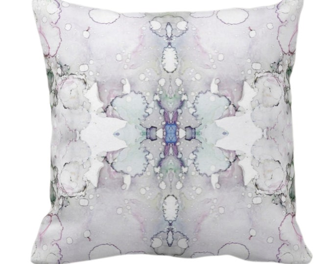 """Mirrored Watercolor Throw Pillow or Cover 14, 16, 18, 20, 26"""" Sq Pillows/Covers Abstract Modern/Minimal Light Purple/Gray/Aqua Painted Print"""