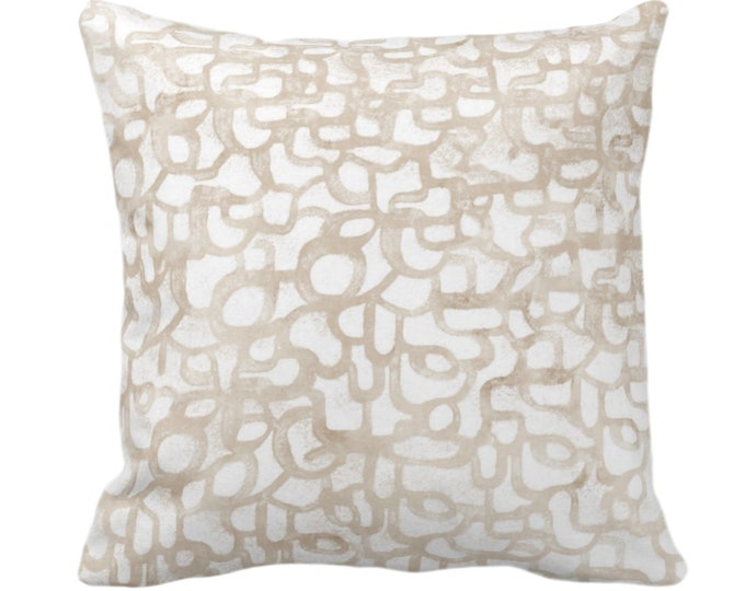 """Abstract Curves Throw Pillow or Cover, Almond 14, 16, 18, 20, 26"""" Sq Pillows/Covers Beige/Camel Painted Modern/Geometric/Geo/Lines Print"""