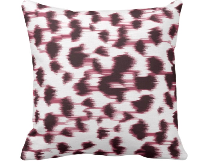 """OUTDOOR Ikat Abstract Animal Print Throw Pillow or Cover 14, 16, 18, 20 or 26"""" Sq Pillows/Covers, Plum Wine/White Spotted/Dots/Spots/Geo/Dot"""