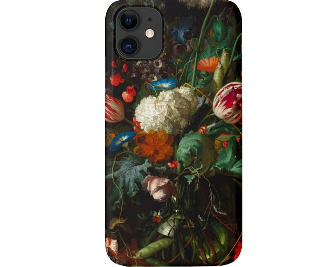 Dutch Floral iPhone 11, XS, XR, X, 7/8, 6/6S, Pro/Max/P/Plus Snap Case or Tough Protective Cover, Black/Colorful Flower/Flowers, Galaxy lg