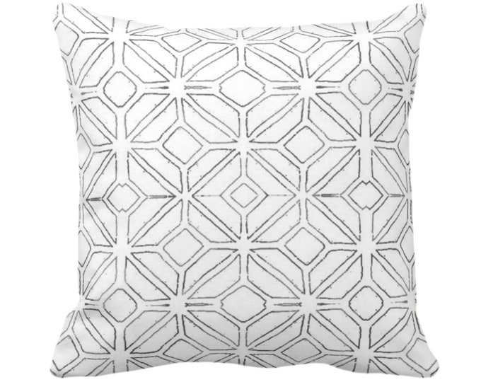 "OUTDOOR Tribal Trellis Throw Pillow or Cover Charcoal/White 14, 16, 18, 20, 24, 26"" Sq Pillows/Covers Gray Geometric/Diamond/Triangle Print"