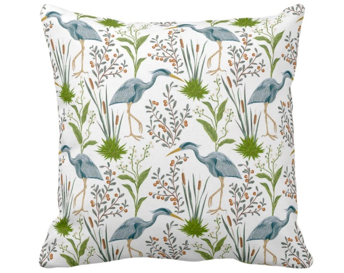 "OUTDOOR Blue Heron Throw Pillow or Cover 14, 16, 18, 20, 26"" Sq Pillows/Covers, Toile/Nature/Botanical Teal/Green Bird/Birds Print/Pattern"