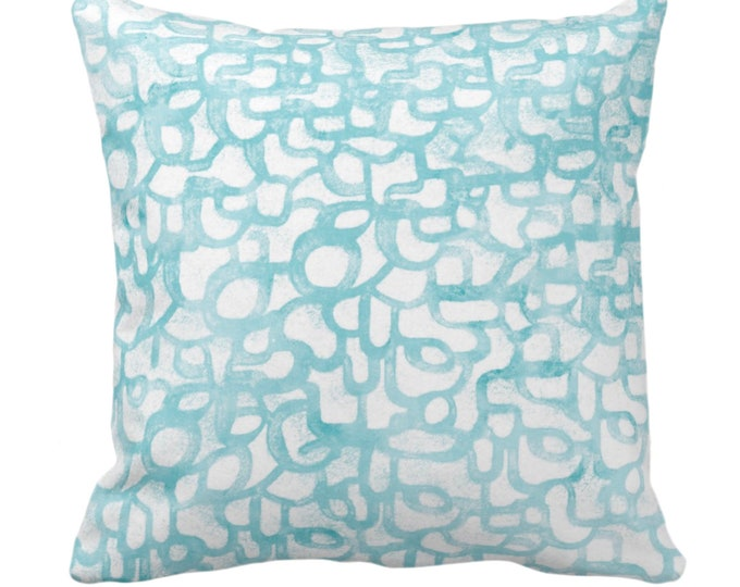 "Abstract Curves Throw Pillow or Cover, Mineral Blue 14, 16, 18, 20, 26"" Sq Pillows/Covers Blue/Green Painted Modern/Geometric/Geo Print"