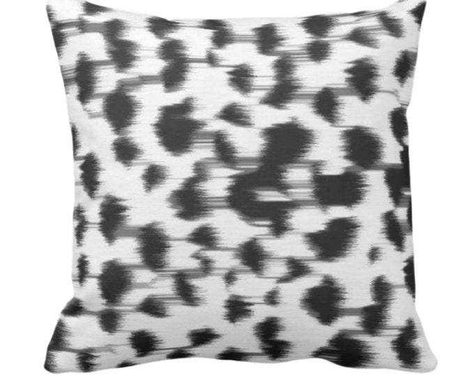 "Ikat Abstract Animal Print Throw Pillow or Cover 14, 16, 18, 20, 26"" Sq Pillows/Covers, Black/Gray/White Spots/Spotted/Dots/Dot/Geo/Painted"