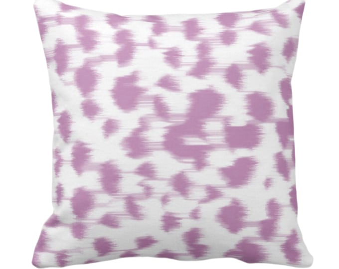 """Ikat Abstract Animal Print Throw Pillow or Cover 14, 16, 18, 20, 26"""" Sq Pillows/Covers, Light Purple/White Spots/Spotted/Dots/Geo/Painted"""