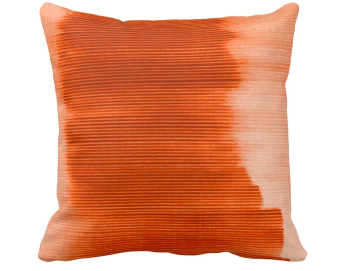 """Copper Ombre Stripe Throw Pillow or Cover 14, 16, 18, 20, 26"""" Sq Pillows/Covers, Bright Orange/Red Geometric/Print/Striped/Stripes/Geo/Lines"""
