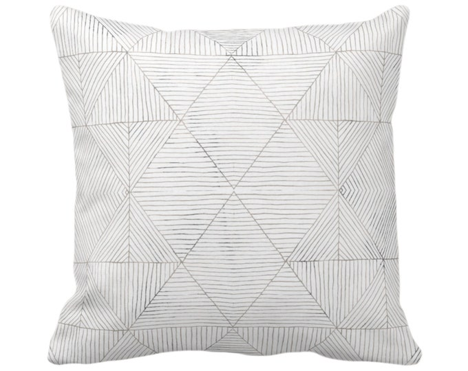"""OUTDOOR Fine Line Geo Print Throw Pillow or Cover 14, 16, 18, 20 or 26"""" Sq Pillows/Covers Taupe Beige/Gray Tribal Geometric/Diamond/Lines"""