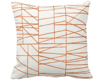 """Dark Orange Broken Geo Print Throw Pillow or Cover 14, 16, 18, 20 or 26"""" Sq Pillows/Covers, Burnt/Copper Painted Geometric/Abstract/Lines"""