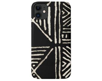 Mud Cloth iPhone 12, 11, XS, XR, X, 7/8 Mini/Pro/Max/P/Plus Snap Case or Tough Protective Cover, Black/Beige Boho/Geometric Print Galaxy