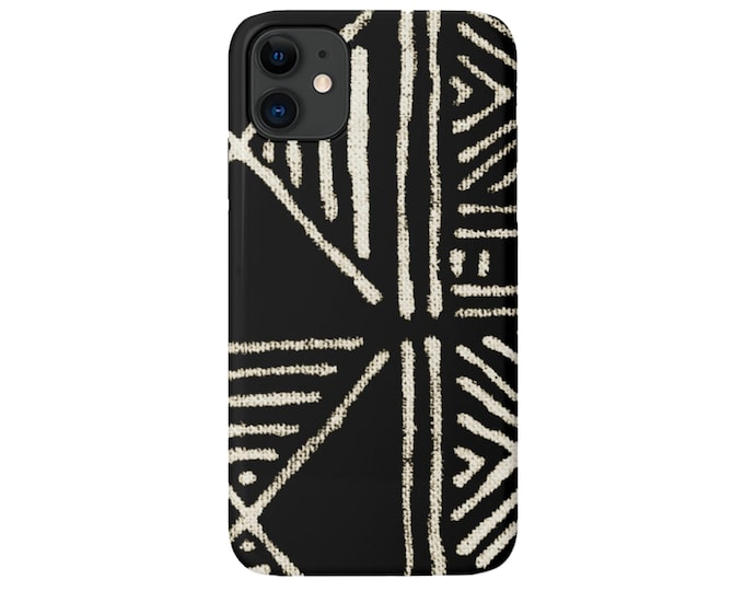 Mud Cloth iPhone 11, XS, XR, X, 7/8, 6/6S, Pro/Max/P/Plus Snap Case or Tough Protective Cover, Black/Beige Boho/Geometric Print Galaxy lg
