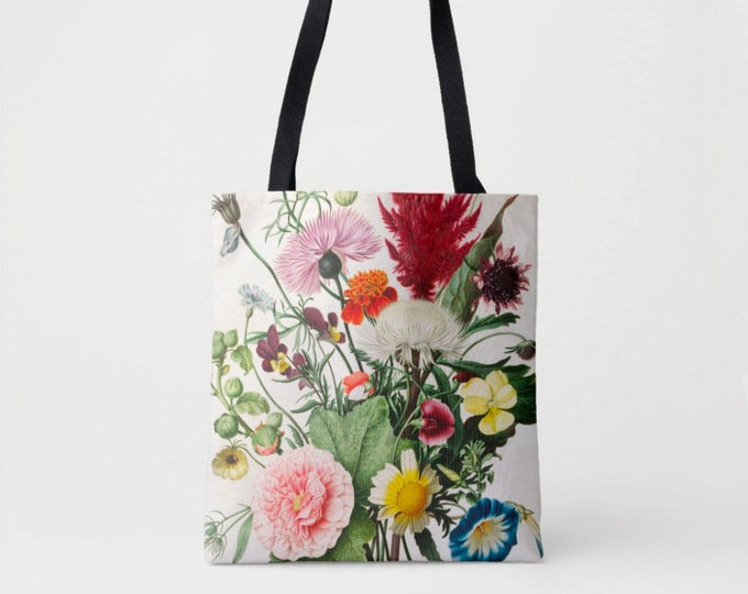 Vintage Botanical Print Market Tote, Multi Colored Shoulder Bag, Floral/Flowers Nature Illustration Red/Pink/Green/Yellow Boho Design