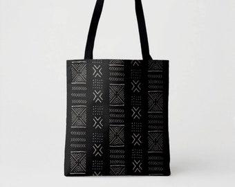 Mud Cloth Diamonds Print Market Tote, Black & Beige African Boho Print Shoulder Bag, Mudcloth Tribal Geometric/Geo Pattern/Design