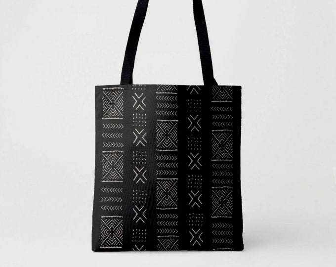 Mud Cloth Diamonds Print Market Tote, Black & Beige African Boho Print Shoulder Bag, Mudcloth Tribal Geometric/Geo Pattern/Design