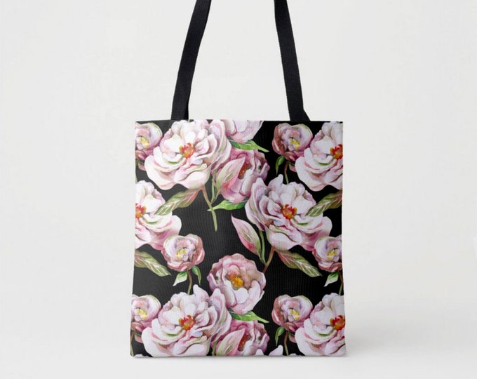 Peony Floral Market Tote, Black, Pink & White Shoulder Bag, Floral/Flowers Vintage Watercolor Rose/Roses/Peonies Flower Pattern/Design