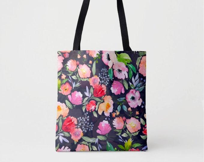 Watercolor Floral Market Tote, Navy Vintage Flower Print Shoulder Bag, Pink, Blue, Peach, Coral, Peony Flowers Painted