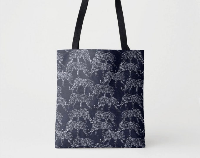 Navy Leopard Print Market Tote, Dark Blue Shoulder Bag, Animal Cat Leopards, Jaguar, Panther Print/Pattern/Design