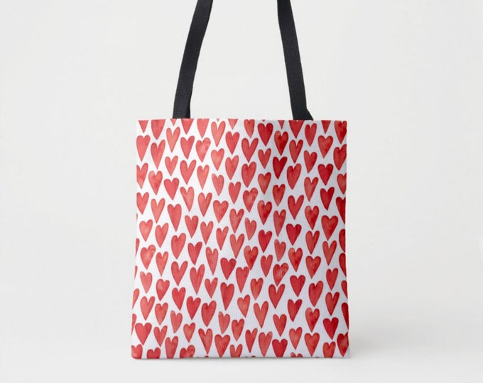 Watercolor Hearts Print Market Tote, Red & White Shoulder Bag, Hand Painted Graphic Heart Pattern/Design Totes