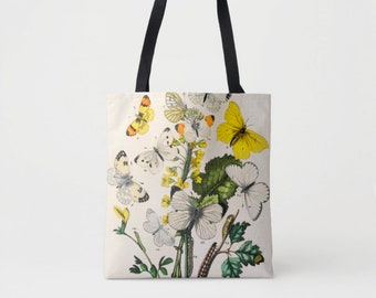 Vintage Butterflies Print Market Tote, Multi Colored Shoulder Bag, Butterfly Floral/Flowers Nature Illustration Yellow/Green Boho Design