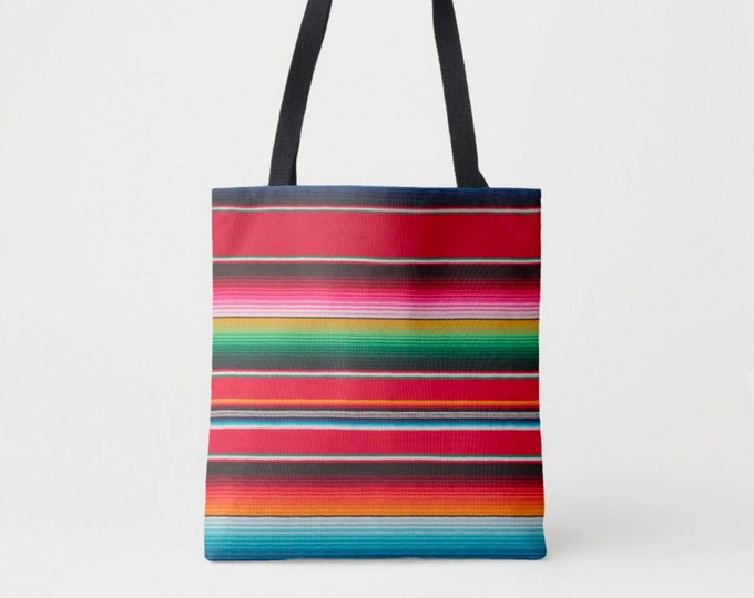 Serape Stripe Printed Market Tote, Boho Colorful, Bright Mexican Blanket Print Shoulder Bag, Striped Red/Pink/Green/Orange