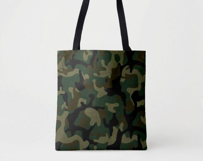 Camo Print Market Tote, Green, Drab & Black Camouflage Shoulder Bag, Olive Woodland Dark Forest Jungle Pattern/Design