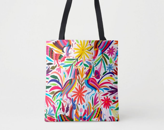 Colorful Otomi Print Market Tote, Multi Colored Print Shoulder Bag, Mexican Folk Art Pattern, Floral/Flowers/Fun/Boho/Bohemian Print