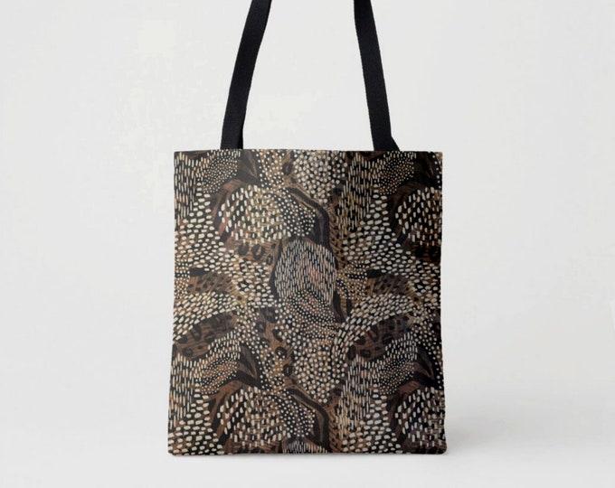 Leopard Camo Print Market Tote, Black/Camel/Brown Boho Animal Print Bag, Camouflage Printed Cat Spotted/Ocelot Pattern, Beige/Tan