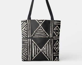 Mud Cloth Abstract Geometric Print Market Tote, Black and Off-White African Boho Print Bag, Mudcloth Tribal Design
