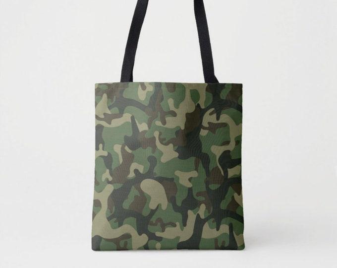 Light Camo Print Market Tote, Green, Drab & Black Camouflage Shoulder Bag, Olive Woodland Dark Forest Jungle Pattern/Design