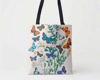 Vintage Butterflies Print Market Tote, Multi Colored Shoulder Bag, Butterfly Floral/Flowers Nature Illustration Blue/Orange Boho Design