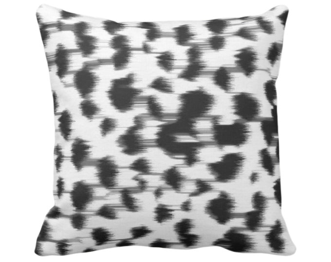 "OUTDOOR Ikat Abstract Animal Print Throw Pillow or Cover 14, 16, 18, 20 or 26"" Sq Pillows/Covers, Black/Gray/White Spotted/Dots/Spots/Geo"
