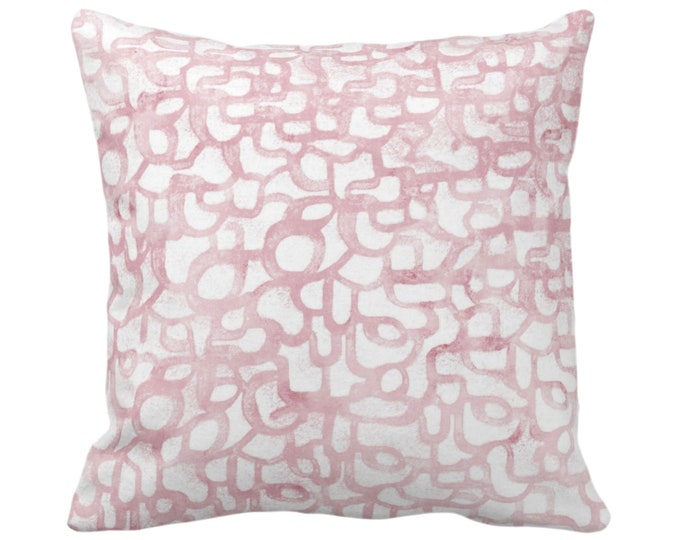 "OUTDOOR Abstract Curves Throw Pillow or Cover, Blush 14, 16, 18, 20, 26"" Sq Pillows/Covers, Rose Pink Painted Modern/Geometric/Lines Print"
