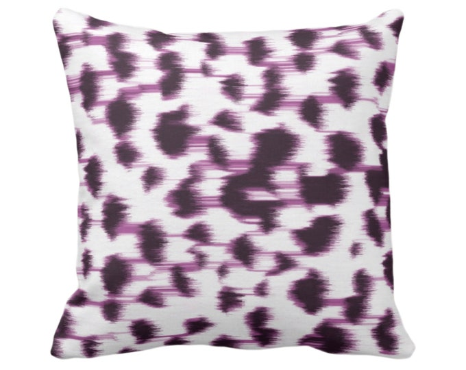 """OUTDOOR Ikat Abstract Animal Print Throw Pillow/Cover 14, 16, 18, 20, 26"""" Sq Pillows/Covers Dark Purple/White Spotted/Dots/Spots/Geo/Leopard"""