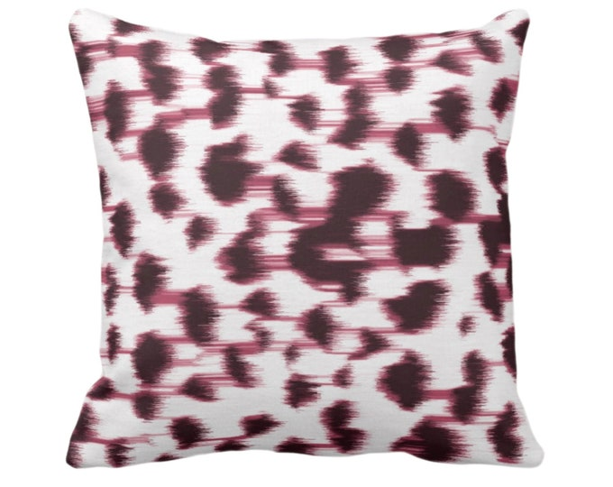 """Ikat Abstract Animal Print Throw Pillow or Cover 14, 16, 18, 20, 26"""" Sq Pillows/Covers,  Plum/Burgundy Spots/Spotted/Dots/Dot/Geo/Painted"""