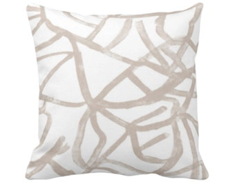 """OUTDOOR Abstract Throw Pillow or Cover, Ivory/Bark 14, 16, 18, 20, 26"""" Sq Pillows/Covers Taupe Hand Painted Modern/Lines/Geometric/Geo Print"""