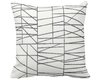 """OUTDOOR Charcoal Geo Print Throw Pillow or Cover 14, 16, 18, 20, 24, 26"""" Sq Pillows/Covers, Dark Gray/Grey Painted Geometric/Abstract/Lines"""