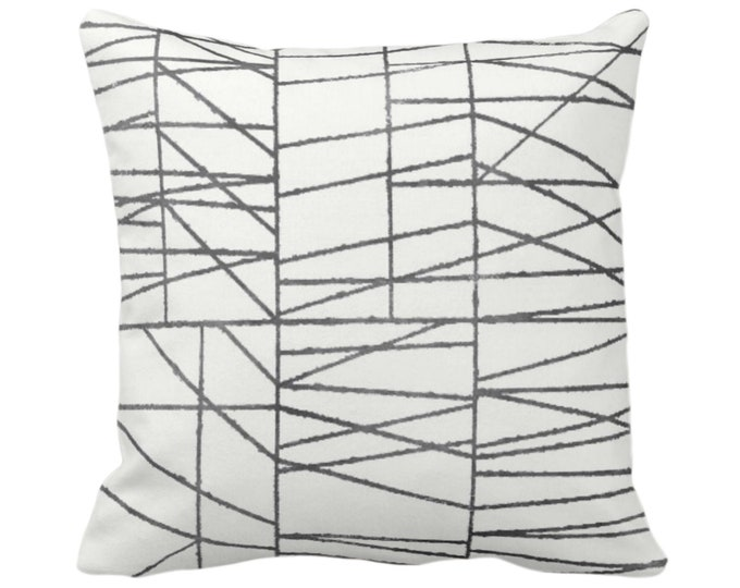 "OUTDOOR Charcoal Geo Print Throw Pillow or Cover 14, 16, 18, 20, 24, 26"" Sq Pillows/Covers, Dark Gray/Grey Painted Geometric/Abstract/Lines"