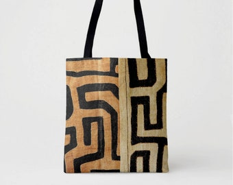 Printed Kuba Cloth Market Tote, Black, Brown & Beige African Boho Shoulder Bag, Tribal Geometric/Geo Print/Pattern